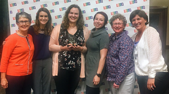 Accepting Mizzou Broad Spectrum's 2017 Catalyst Award are (from left) Eileen Hasser, Madison Minter, Rhiannon Koehler, Amanda Cox, Joan Coates and Angela Tennison, CVM associate dean for Student Affairs.