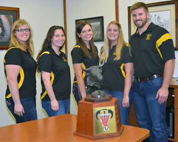 This year's MU CVM Bovine Club members are (from left) Annie Callahan, vice-president, Kimberly Clem, secretary, Sonja Perry, president, Ashley Zieglar, treasurer, and Alex Jackson, historian.