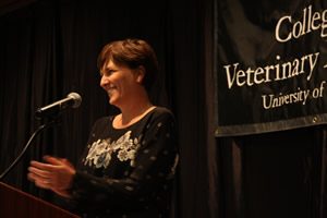 CVM Associate Dean for Student Affairs Angela Tennison served as the emcee for the Honors Banquet.