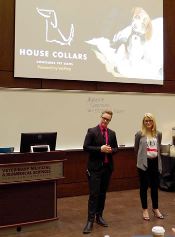 Wendy Evans (left) and Kaitlin McDaniel, from MU's College of Veterinary Medicine, present their plan for House Collars Concierge Vet Techs during the Idea Competition at SAVMA Symposium 2017.