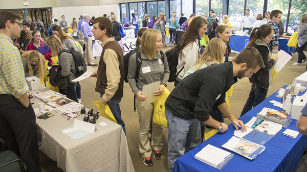 The College of Veterinary Medicine's Veterinary Products Day brings together students and representatives from animal care and nutrition companies, allowing students to learn about the products the companies make and distribute.