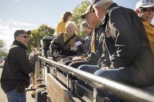 Following brunch with retired and active faculty, CVM alumni had an opportunity to take a ride with the CVM mules, Tim and Terry.