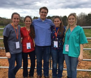 For the third year the University of Missouri College of Veterinary Medicine fielded a team at the Student American Veterinary Medical Association Palpation Competition. Bringing home a fourth-place win are (from left) Emma Knickmeyer, Rachael Bonacker, Jacob Wilshusen, Jody Sherman and Katie Williams.