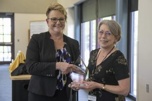 Laura Buck, senior library information specialist at the Zalk Veterinary Medical Library and a 30-year veteran at the University of Missouri, received the 2019 Dean's Impact Award presented to a staff member.