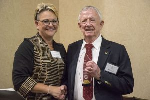 CVM Dean Carolyn J. Henry congratulates Hal Jenkins on his award.