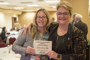 MVMA President-elect Marcy Hammerle (left) nominated Dean Carolyn Henry for the Missouri Veterinary Medical Foundation Hall of Fame.