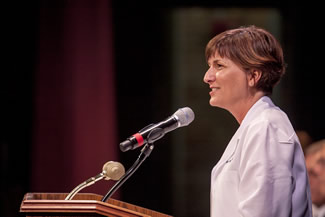 Associate Dean for Student Affairs Angela Tennison, DVM, serves as the emcee for the White Coat Ceremony.
