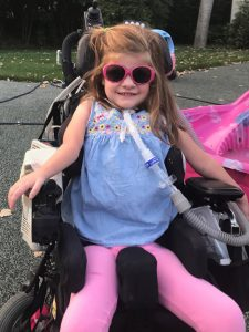 Despite requiring mechanical ventilation and around-the-clock care, Catherine attends school, enjoys family outings and participates in activities as much as possible.