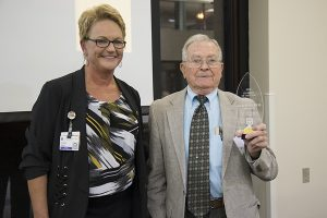CVM Dean Carolyn J. Henry with Alumnus of the Year, George Jury.
