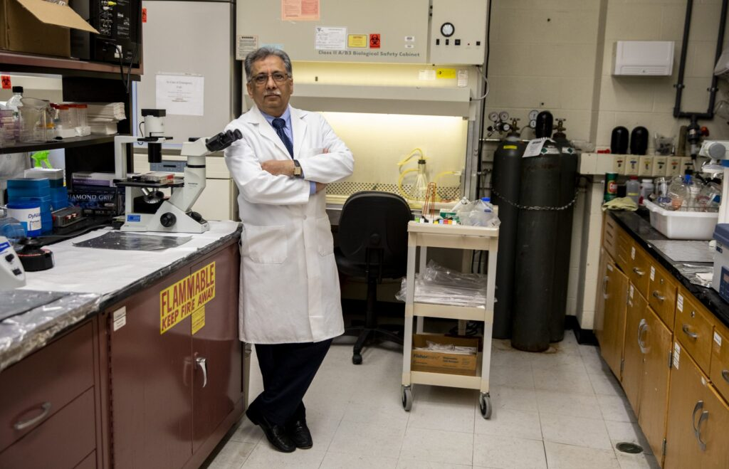 Researcher Salman Hyder in his lab at the Dalton Cardiovacular Research Center at the University of Missouri.