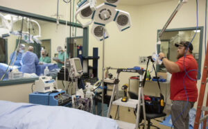 To help accommodate learning in confined areas while keeping faculty, staff and students safe, cameras were installed in surgery suites allowing students to watch procedures remotely.