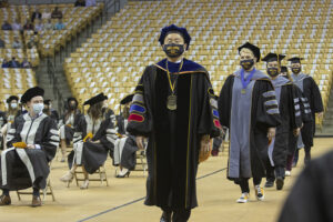 University of Missouri President and MU Chancellor Mun Choi led the platform party processional to begin commencement for the CVM Class of 2021.