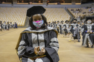The need for social distancing relocated the CVM commencement from Jesse Hall, where it has traditionally been held, to Mizzou Arena, permitting Taylor Jackson and her 114 classmates to be safely seated at 6-foot intervals.