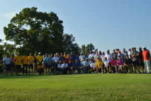 All participants in the Mizzou Black Faculty and Staff Organization Golf Tournament gather for a group photo.